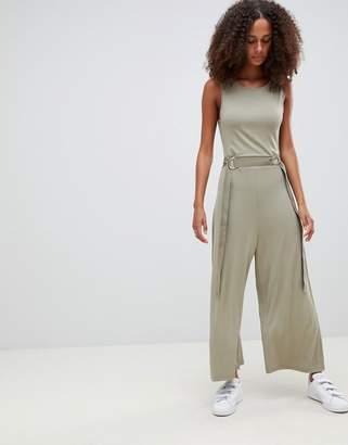 Asos DESIGN Sleeveless Jersey Jumpsuit With Grosgrain Belt Detail