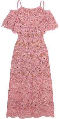 Elie Saab - Off-the-shoulder Cotton-blend Macramé Lace Dress - Pink $6,425 thestylecure.com