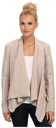 Blank NYC Draped Vegan Leather and Ponte Jacket in Taupe Women's Coat