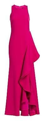 Badgley Mischka Women's Racer Butter Crepe Side Ruffle Dress