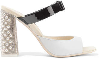 Sophia Webster Andie Embellished Two-tone Smooth And Patent-leather Mules - White