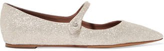 Tabitha Simmons Hermione Glittered Leather Point-toe Flats - Gold