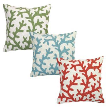 Coral Needlepoint Pillow