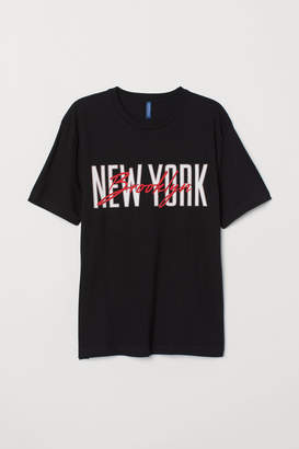 H&M T-shirt with Motif - Black