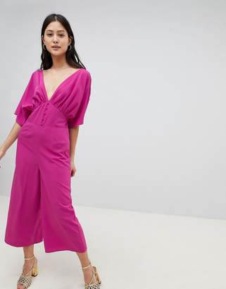 Asos Design DESIGN Tea Jumpsuit With Kimono Sleeve And Button Detail