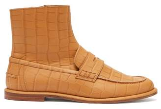 Loewe Crocodile Effect Leather Loafer Boots - Womens - Tan