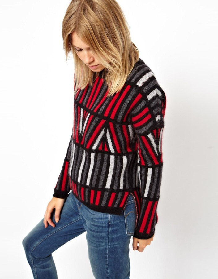 Asos Angora Sweater In Cut-About Stripes