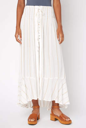Olivaceous Striped Hi Lo Button Front Maxi Skirt