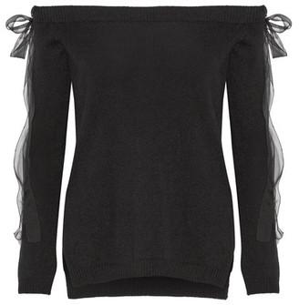 Off-the-shoulder Silk Chiffon-trimmed Cashmere Sweater - Black