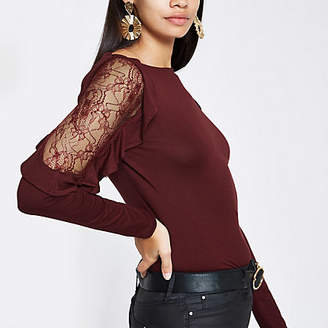River Island Burgundy lace detail long sleeve top