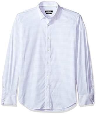 Bugatchi Men's Slim Fit Checkered Print Long Sleeve Point Collar Shirt