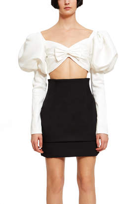 Rodarte Collection White Lurex Jacquard Cropped Bustier