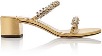 Jimmy Choo Shai Crystal-Embellished Metallic Leather Sandals Size: 35