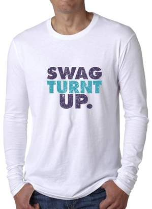 Hollywood Thread Trendy Graphic Swag Turnt Up Men's Long Sleeve T-Shirt