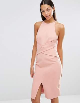 Lavish Alice Wrap Front Plunge Back Detail Midi Dress $88 thestylecure.com