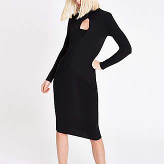 River Island Womens RI Studio Black wrap front dress