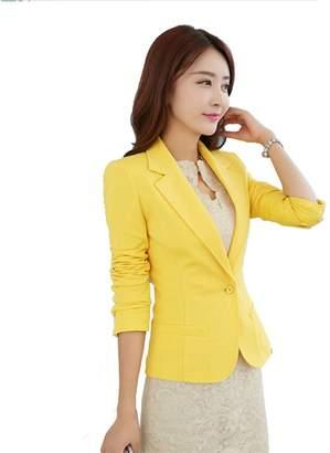 My Wonderful World Blazer Coat Jacket MWW Casual Office Blazer OL Long Sleeve Suits Slim Fit One Button Jacket for Juniors