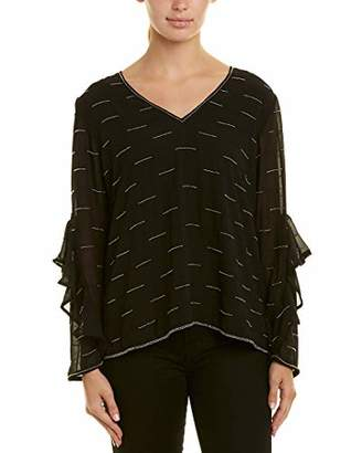 Michael Stars Women's All Over Beading Long Sleeve Flutter Top
