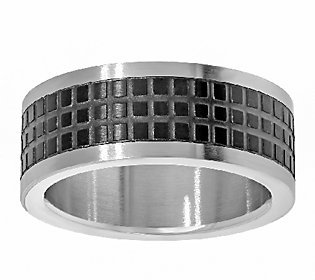 Steel by Design Stainless Steel Men's Two-tone Square Texture Design Ring