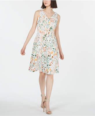 Calvin Klein Floral Lace A-Line Dress
