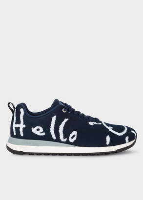 Paul Smith Men's Navy 'Doodle' Print 'Rappid' Knitted Trainers