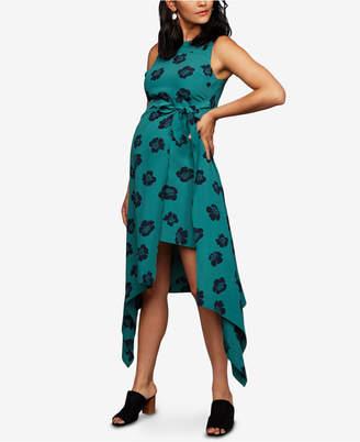 A Pea in the Pod Maternity Handkerchief-Hem Midi Dress