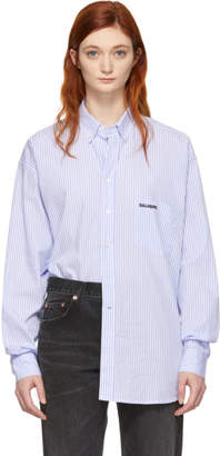 Vetements White and Blue Stripe Metal Ring Shirt