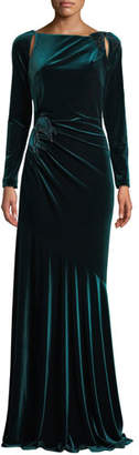Rickie Freeman For Teri Jon Long-Sleeve Velvet Draped Bow Gown