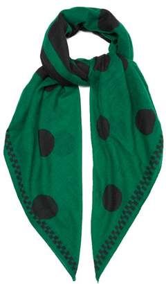 Colville - Hey Colville Polka Dot Wool Scarf - Womens - Green
