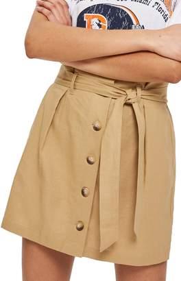 Topshop Linen Button Paperbag Miniskirt