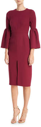 Jill Stuart Bell-Sleeve Slit-Front Sheath Cocktail Dress, Black Currant