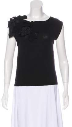 Alice + Olivia Bowtie-Embellished Wool Top Black Bowtie-Embellished Wool Top
