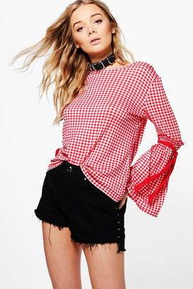 boohoo Kitty Gingham Tie Sleeve Top $20 thestylecure.com