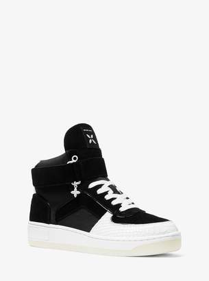 MICHAEL Michael Kors Jaden Suede and Snake-Embossed High-Top Sneaker