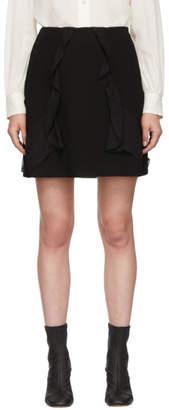 See by Chloe Black Crepe Ruffle Miniskirt