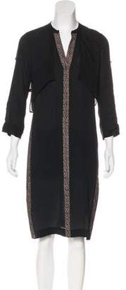BCBGMAXAZRIA Silk Lace-Accented Dress