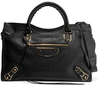 Balenciaga - City Glossed Textured-leather Tote - Black $2,125 thestylecure.com