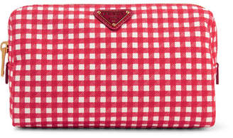 Prada Large Leather-trimmed Gingham Canvas Cosmetics Case - Red