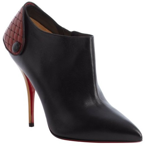 Christian Louboutin black and red leather pointed toe heel strap booties