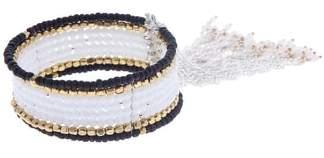 Nakamol Design Beaded Chain Tassel Cuff Bracelet