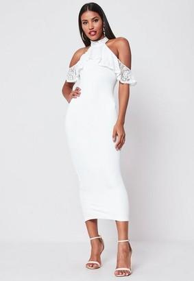 Missguided White Lace Frill Cold Shoulder Bodycon Midi Dress, White