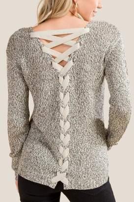 francesca's Devin Lattice Back Sweater - Taupe