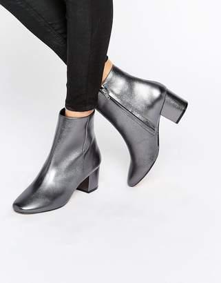 Dune Pebble Pewter Metallic Block Heeled Ankle Boots