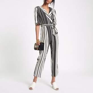 River Island Womens Black Stripe wrap tie waist jumpsuit