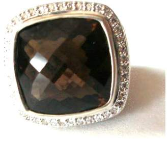 David Yurman Sterling Silver Albion Diamond & Smoky Quartz Ring