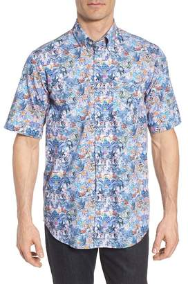Paul & Shark PAUL AND SHARK Paul&Shark Regular Fit Tropical Print Sport Shirt