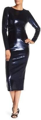 Diane von Furstenberg Long Sleeve Crewneck Sequin Dress