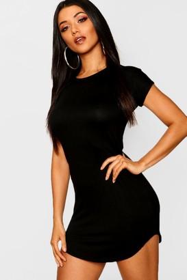 boohoo Basic Curved Hem T-Shirt Dress