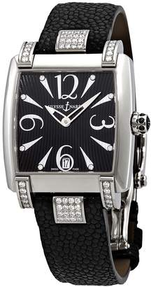 Ulysse Nardin Caprice Black Dial Stainless Steel Diamond Black Galusha Leather Ladies Watch