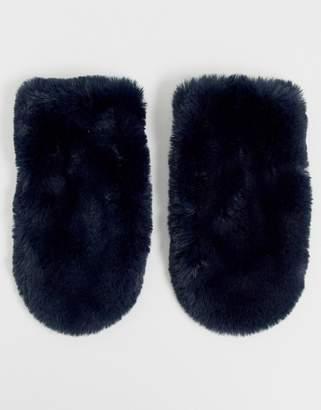 Barneys New York Barneys Originals faux fur mittens in navy